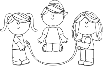 Black and White Girls Jumping Rope Clip Art Black and White Girls Jumping Rope Image