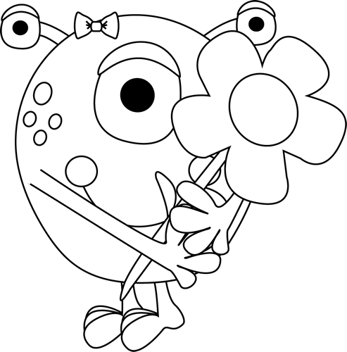 Black and White Girl Monster Holding a Flower Clip Art
