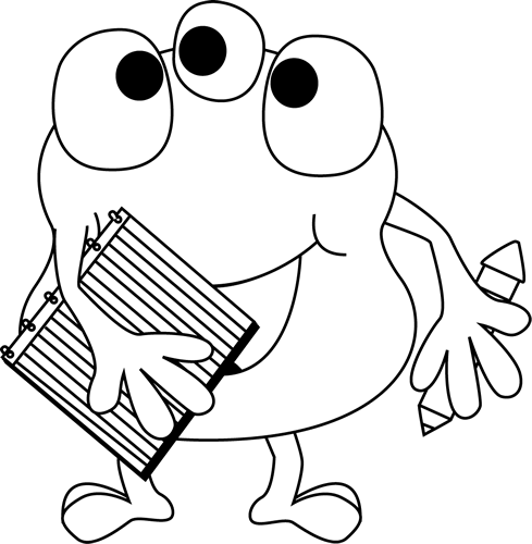 Black and White Monster with Notebook and Pencil Clip Art