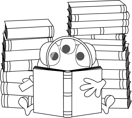 Black and White Three Eyed Monster Reading Clip Art