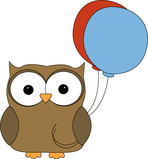 brown owl with balloons clip art