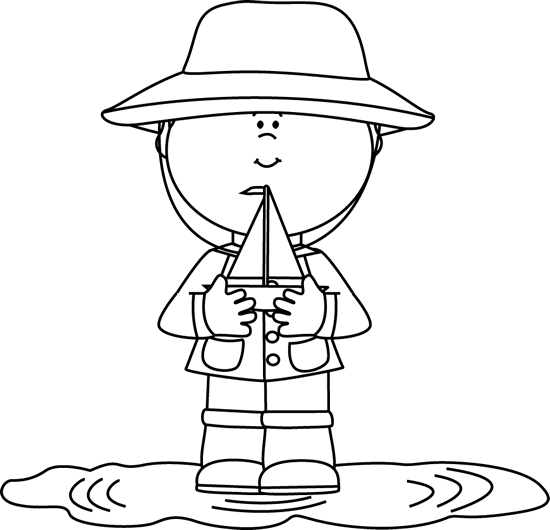 Black and White Boy in Rain Puddle with Toy Boat Clip Art