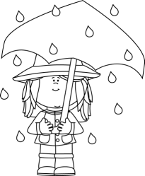 rain clipart weather rainy standing clip umbrella outline child boots children graphics coloring raincoat wearing cliparts holding mycutegraphics hat falling