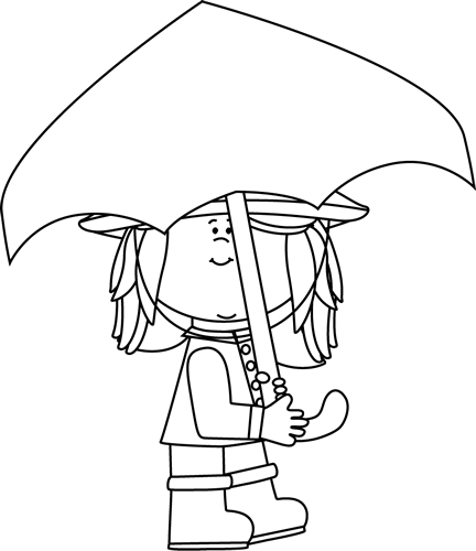 Black and White Girl Walking with Umbrella Clip Art