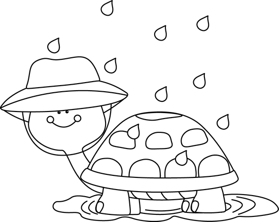 Black and White Turtle Standing in Rain Puddle Clip Art