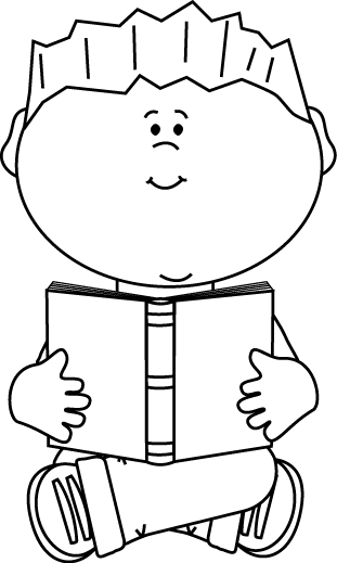 Black and White Boy Sitting and Reading a Book Clip Art