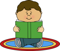 Kid Reading on a Rug Clip Art