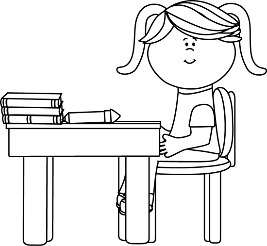 Black and White School Girl Sitting at a Desk Clip Art
