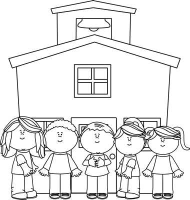 School Clip Art Black and White