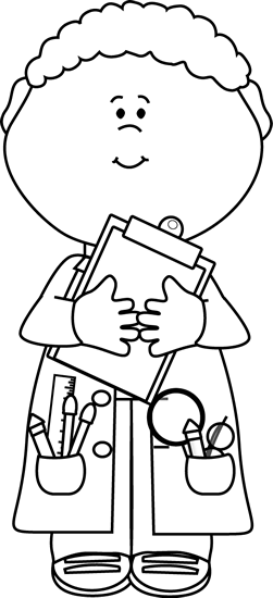 Black and White Boy Scientist with a Clipboard Clip Art