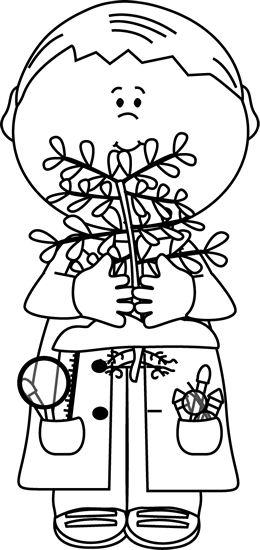 Black and White Boy Scientist with a Plant Clip Art