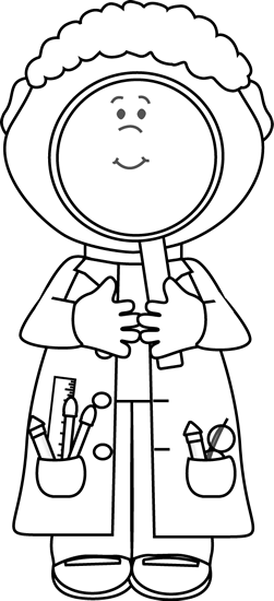 Black and White Scientist with Big Magnifying Glass Clip