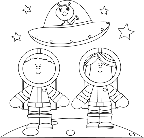 Black and White Astronauts on Moon with UFO Clip Art