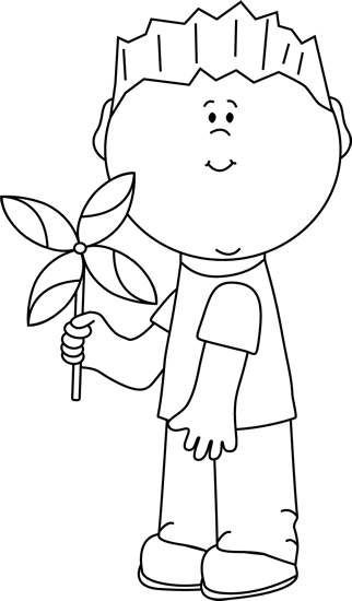 Black and White Boy with a Spring Pinwheel Clip Art