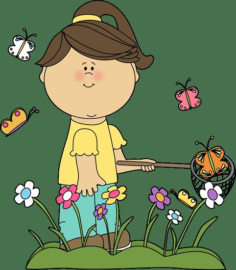 girl catching butterflies clip