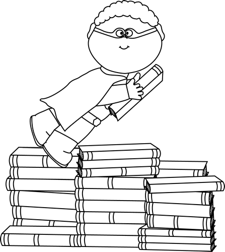 Black and White Boy Superhero Flying Around Books Clip Art
