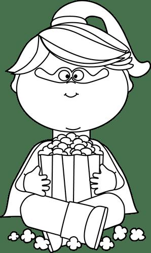 Black and White Superhero Girl Eating Popcorn Clip Art