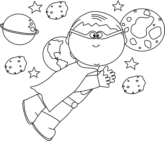 Black and White Superhero Boy Flying In Space Clip Art