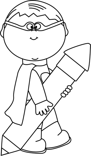 Black and White Superhero Boy with a Big Pencil Clip Art