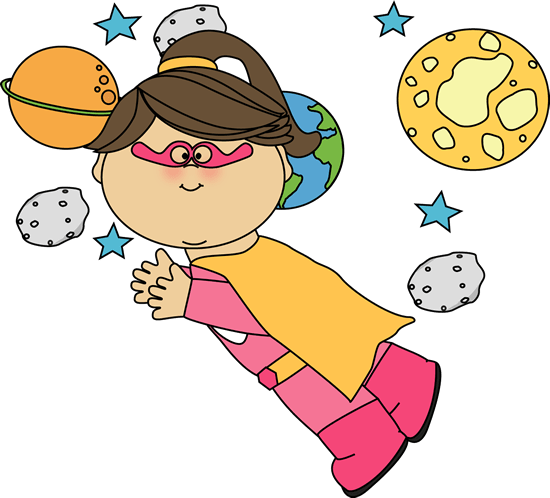 Superhero Girl Flying Through Space