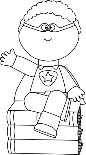 Black and White Superhero Sitting on Books Clip Art