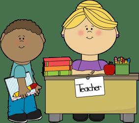 teacher student clip boy desk graphics
