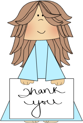 girl holding a thank