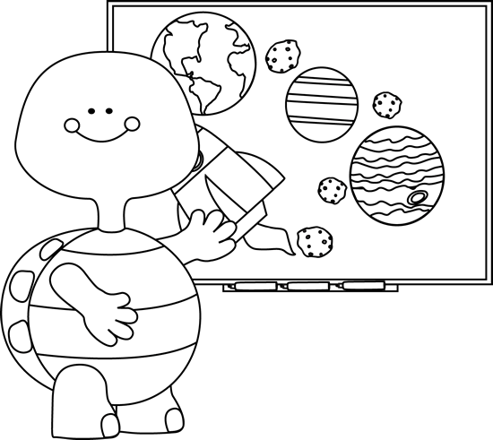 Black and White Turtle Teacher at Smart Board Clip Art