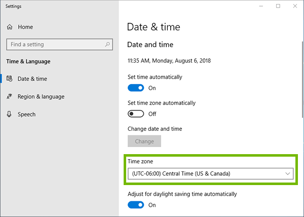 Date and time settings with Time zone highlighted.