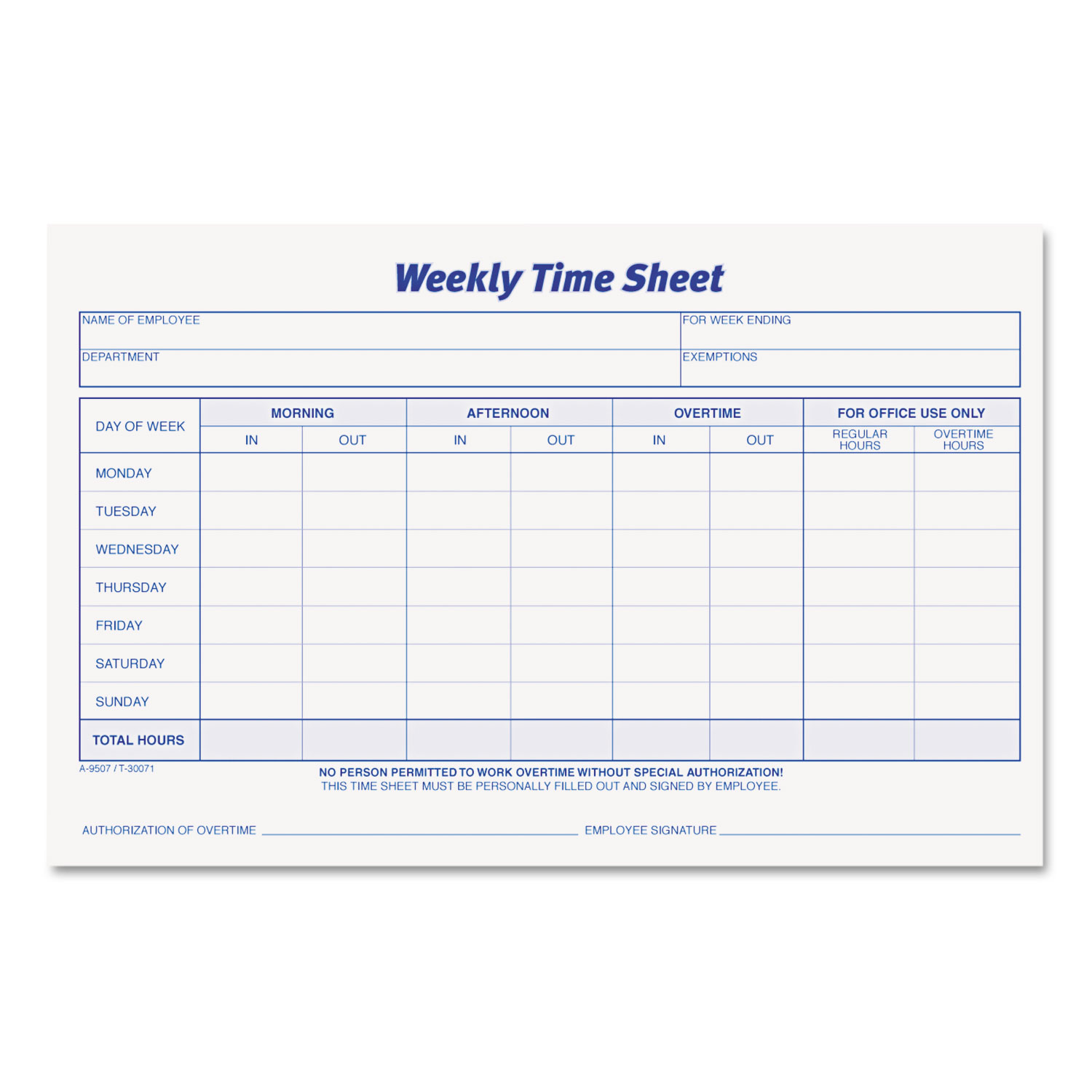 Weekly Time Sheets By Tops Top