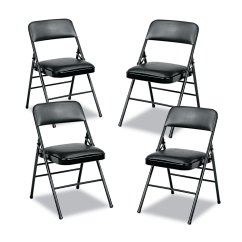 Folding Chair Vinyl Padded Black Fold Up Chairs Walmart Discover Deluxe Series And