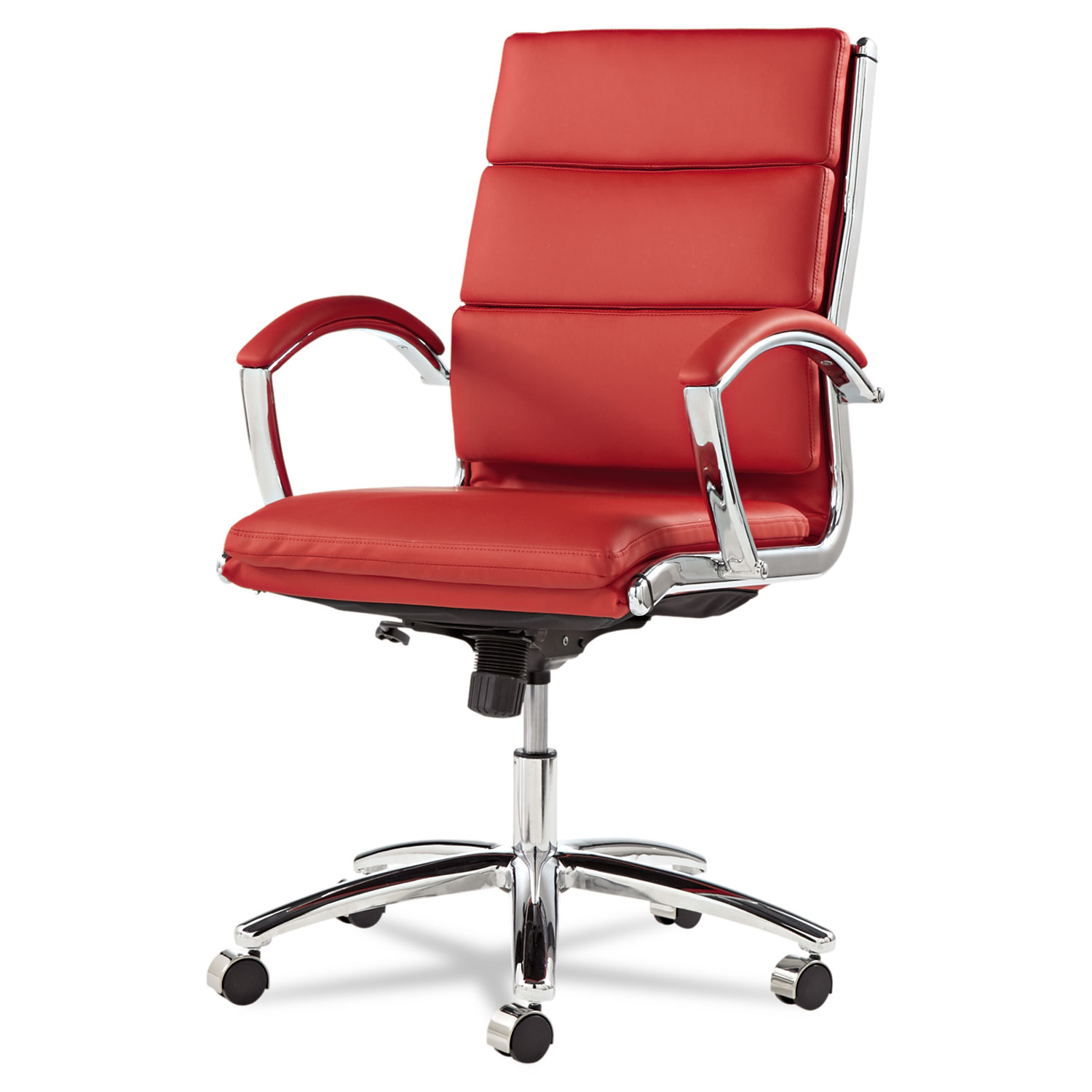 Alera Office Chairs Alera Neratoli Mid Back Slim Profile Chair Red Leather Chrome Frame