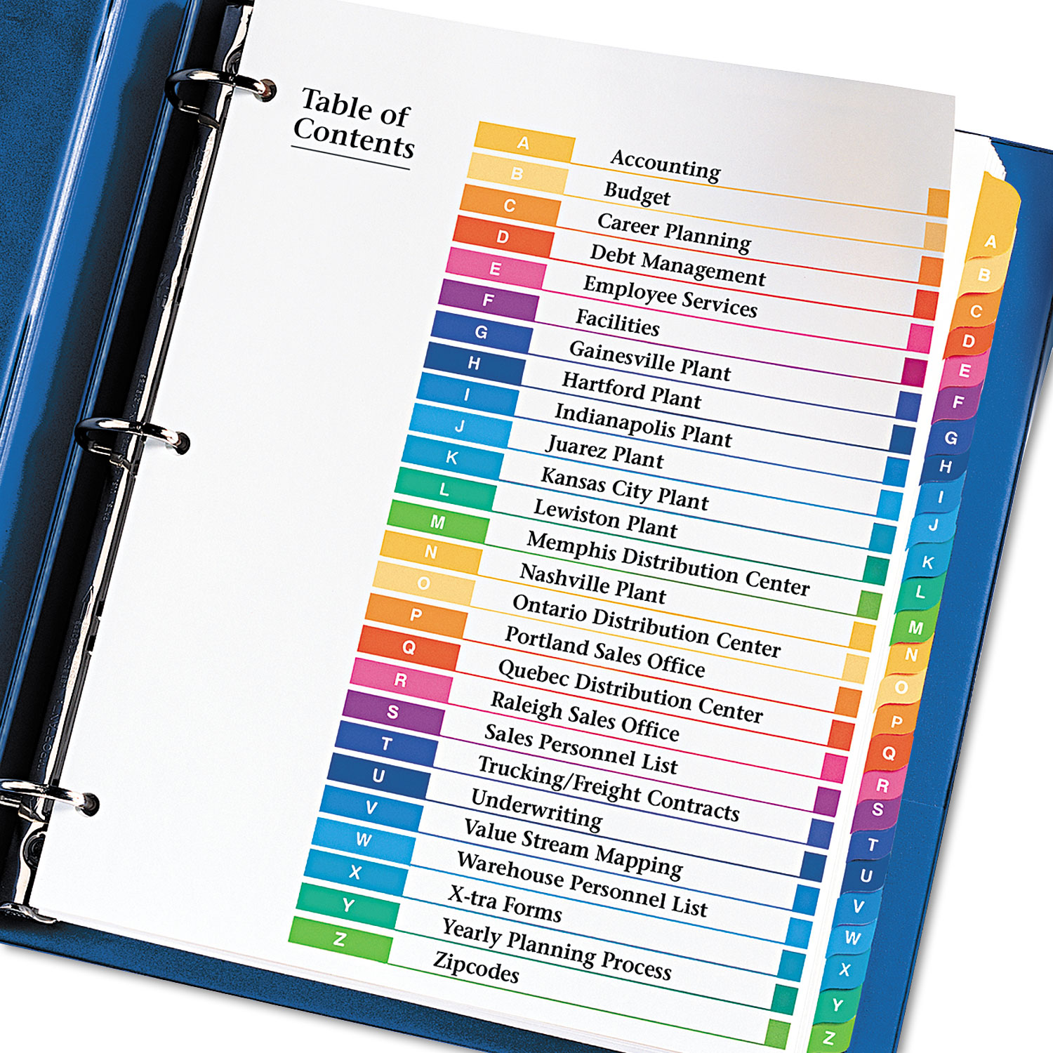 Ready Index Customizable Table Of Contents Multicolor Dividers By Avery Ave