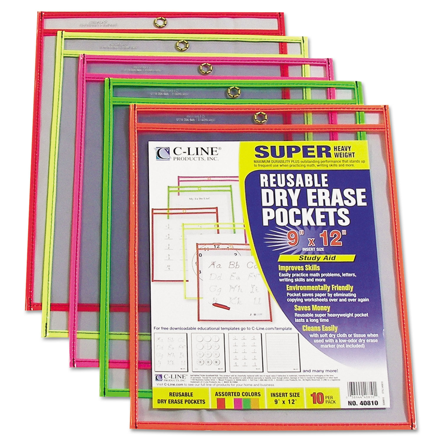 Reusable Dry Erase Pockets 9 X 12 Assorted Neon Colors 10 Pack