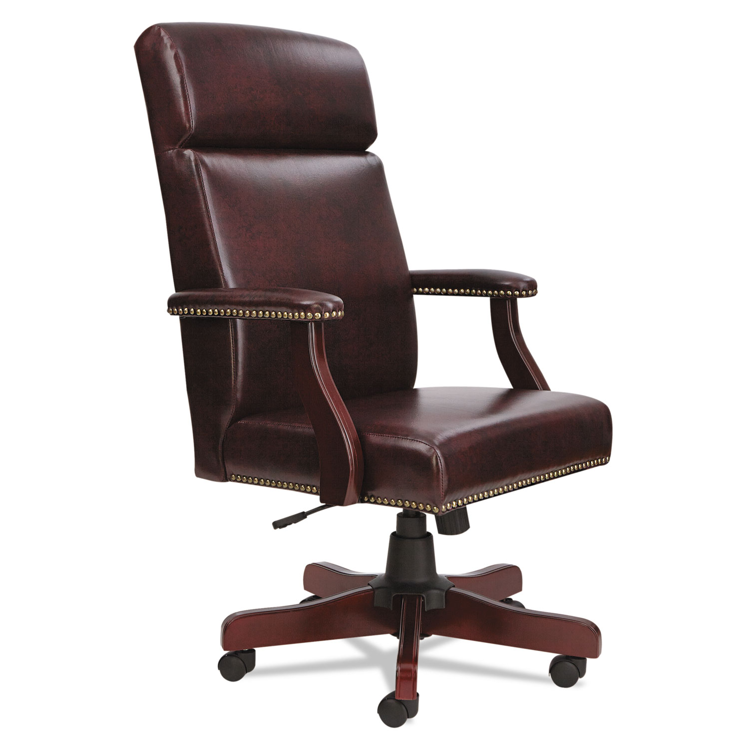 Alera Office Chairs Alera Traditional Series High Back Chair Mahogany Finish Oxblood Vinyl