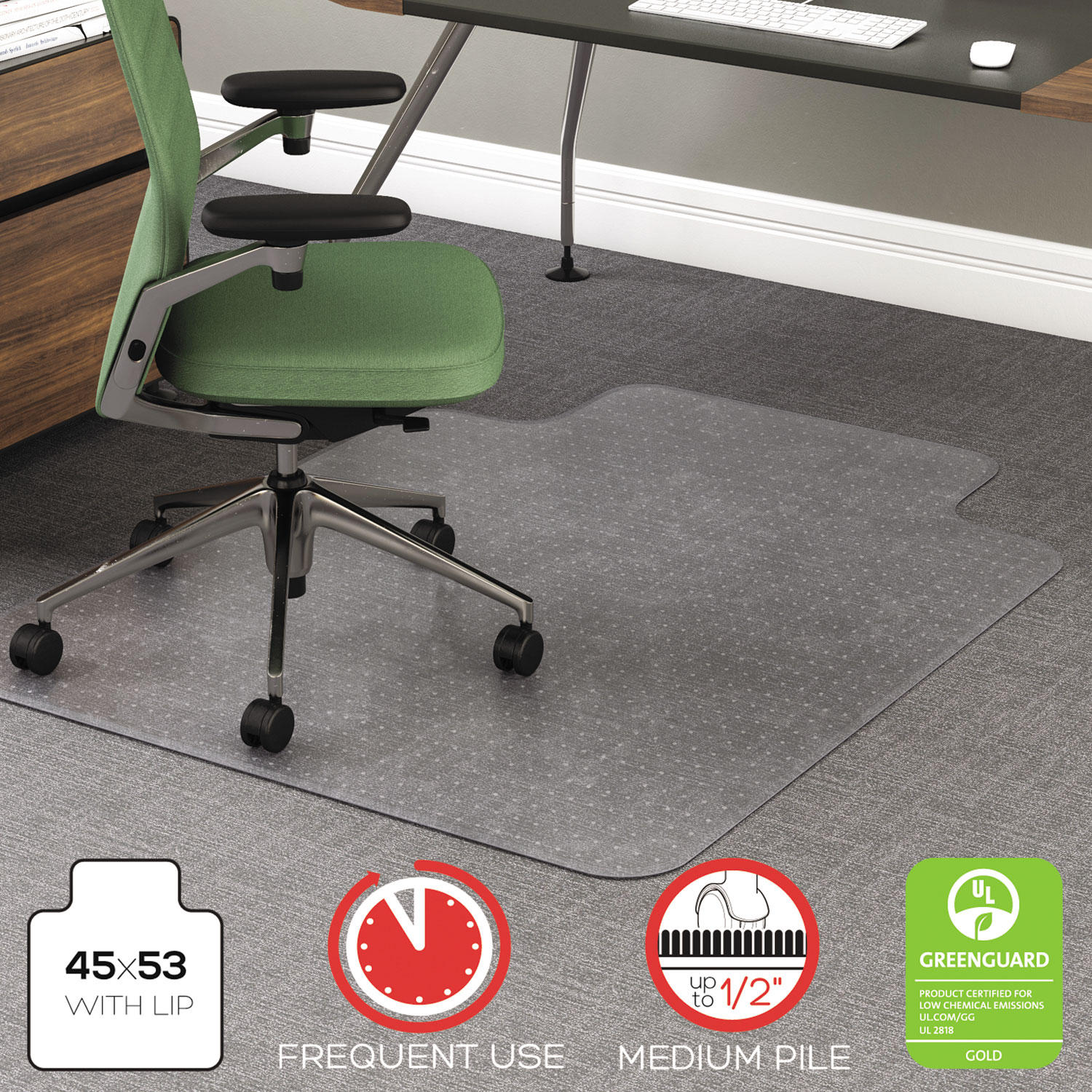 High Chair Floor Mat Rollamat Frequent Use Chair Mat For High Pile Carpet By
