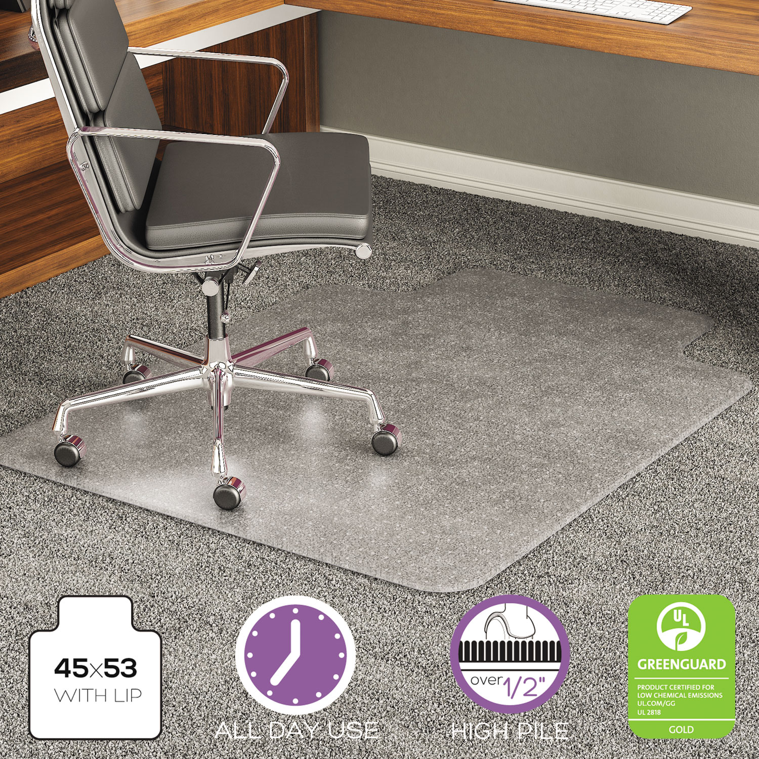 office chair mat 45 x 60 with nailhead trim execumat intense all day use for high pile