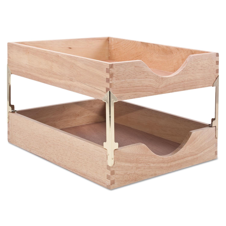 Hardwood Letter Stackable Desk Tray by Carver CVR07211