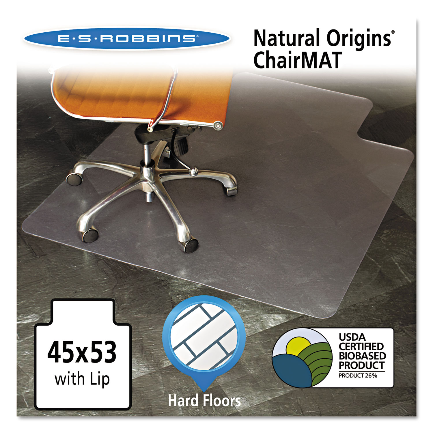 office chair mat 45 x 60 brown recliner cheapest natural origins with lip for hard floors 53 clear