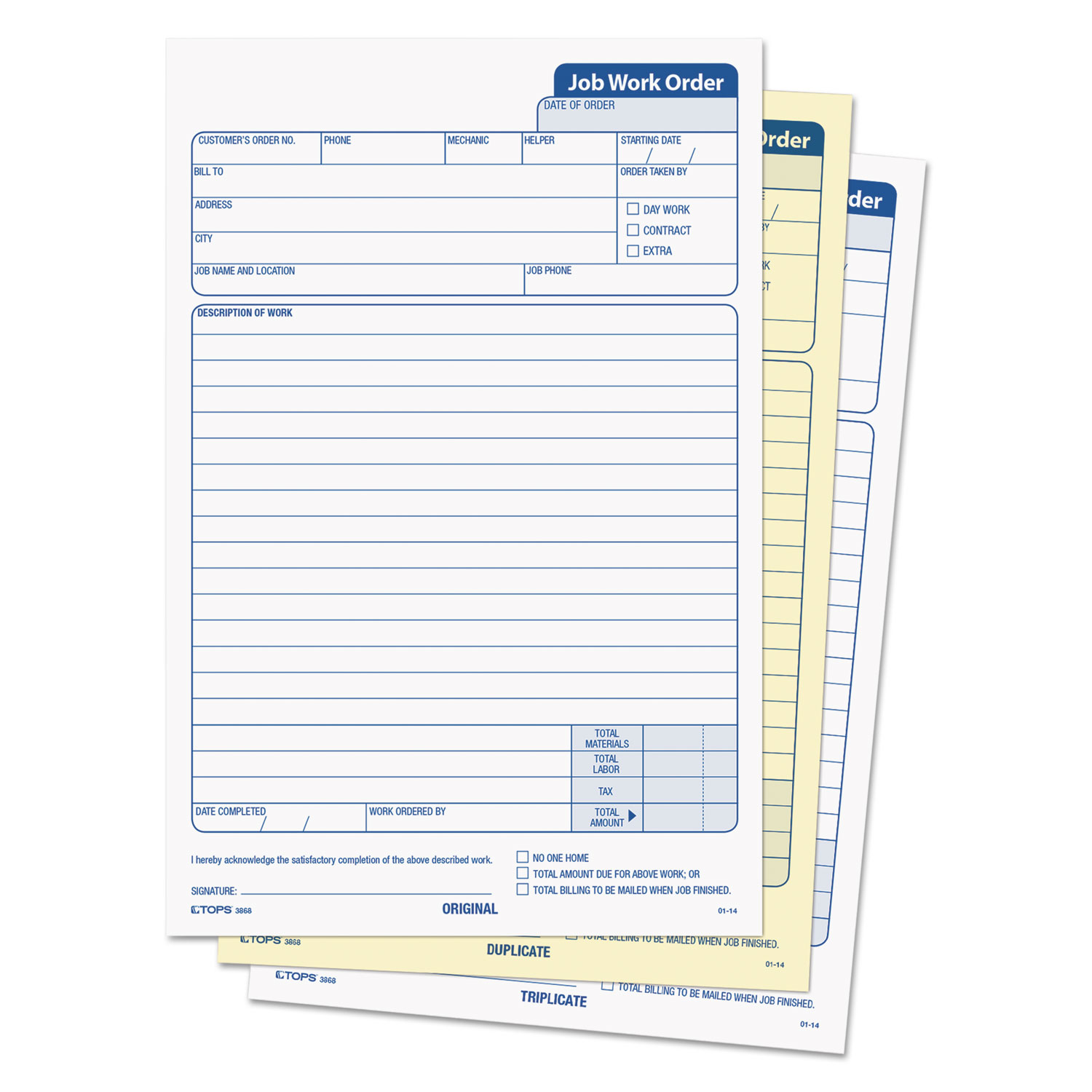 Snap Off Job Work Order Form By Tops Top