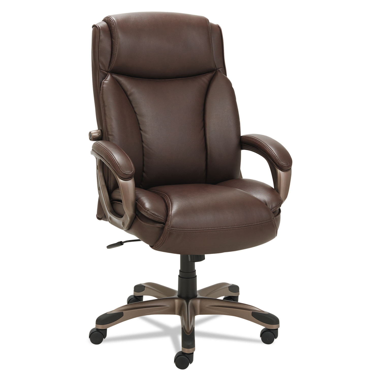 Executive Leather Chair Alera Veon Series Executive Highback Leather Chair Coil Spring Cushioning Brown