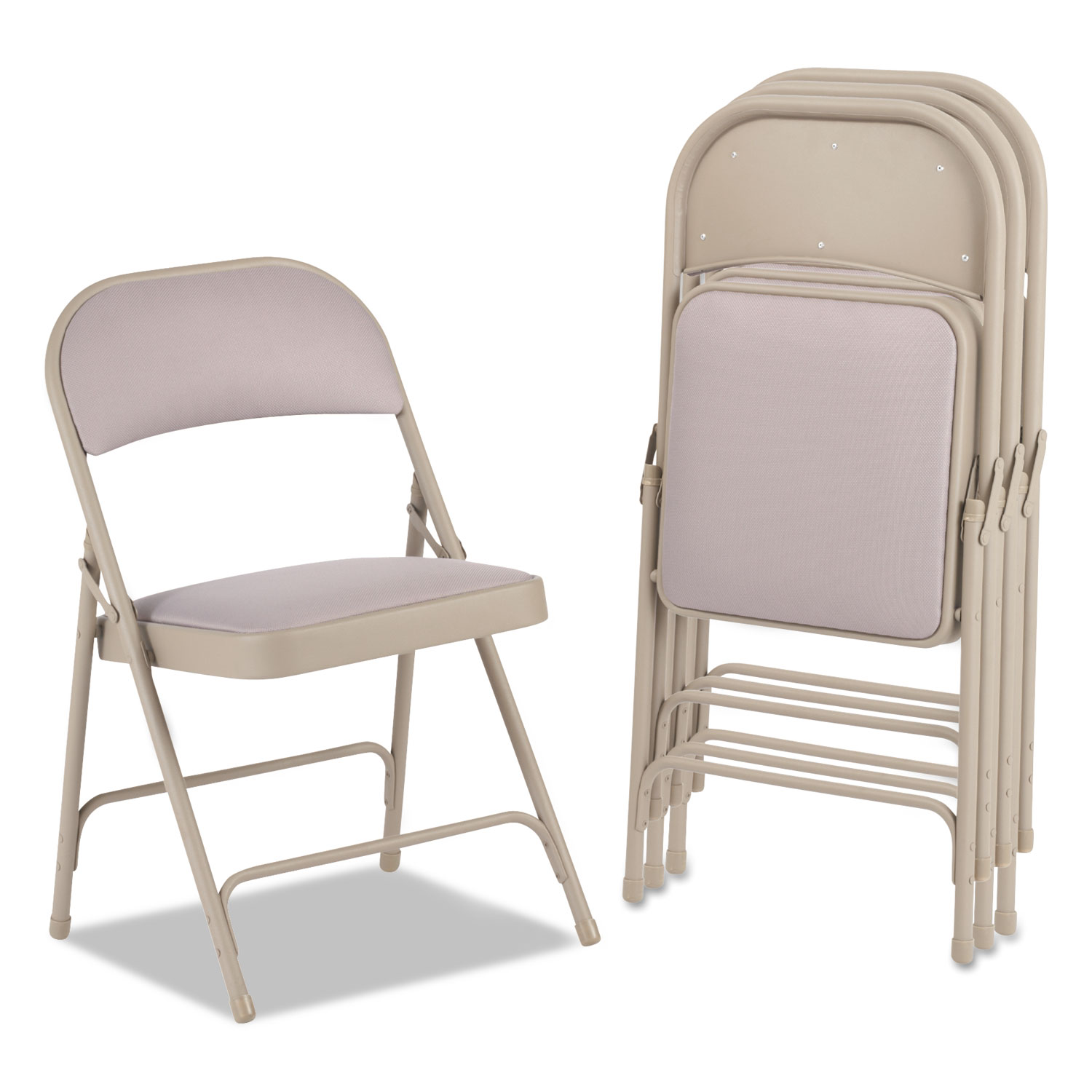 folding fabric chairs chair cover rentals kitchener waterloo steel with two brace support back seat tan 4 cart