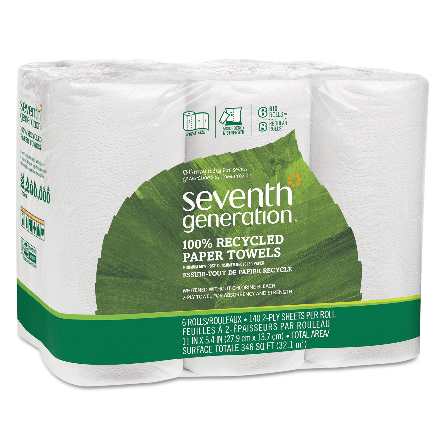 100 Recycled Paper Towel Rolls By Seventh Generation