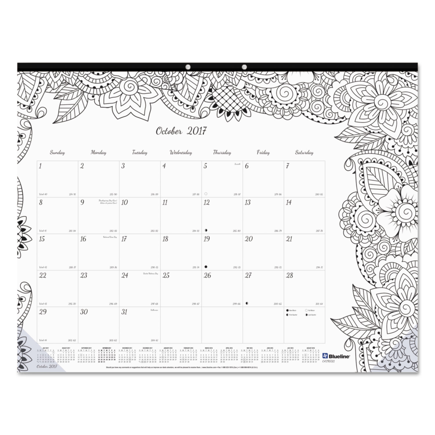 Academic DoodlePlan Desk Pad Calendar w/Coloring Pages by