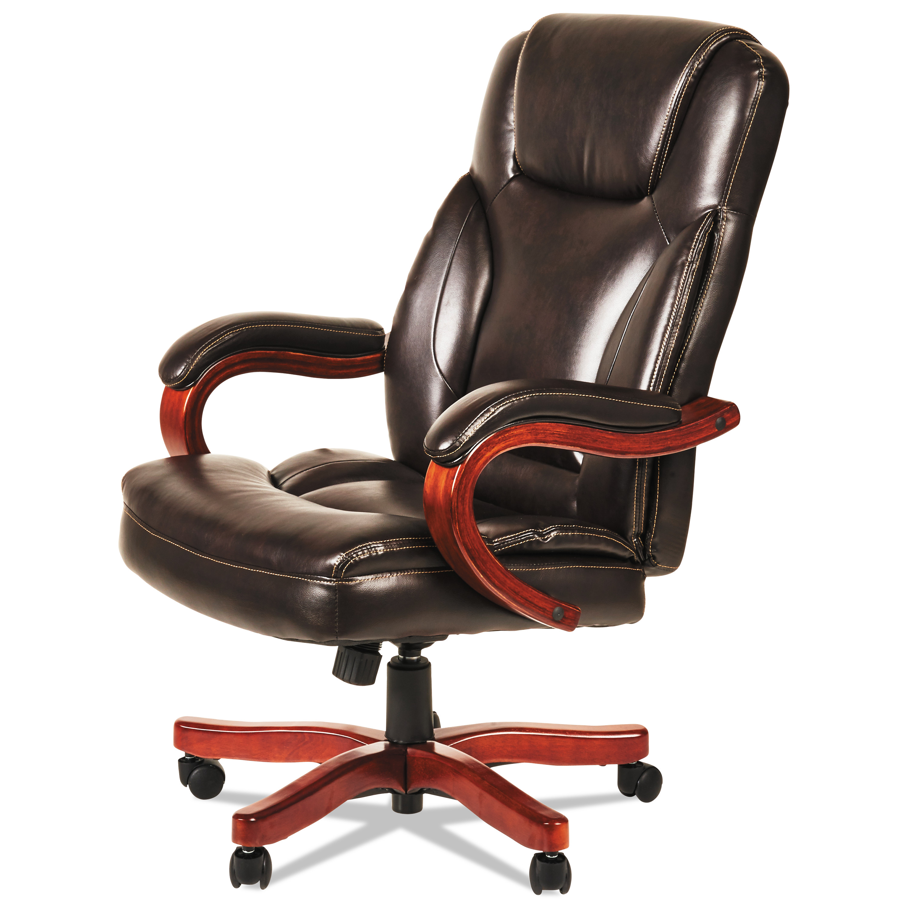 Alera Office Chairs Alera Transitional Series Executive Wood Chair Chocolate Marble