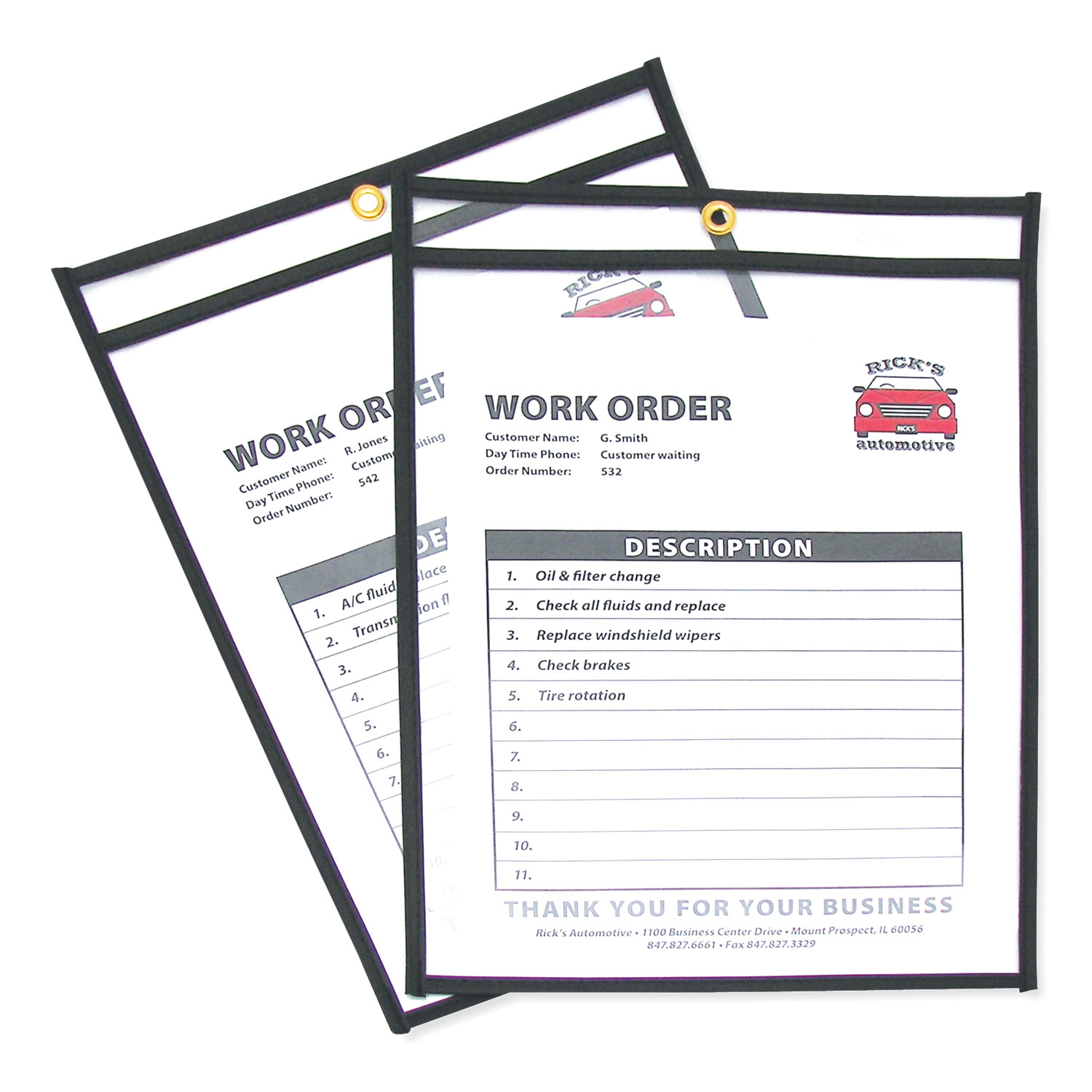 Shop Ticket Holders, Stitched, Both Sides Clear, 75 Sheets