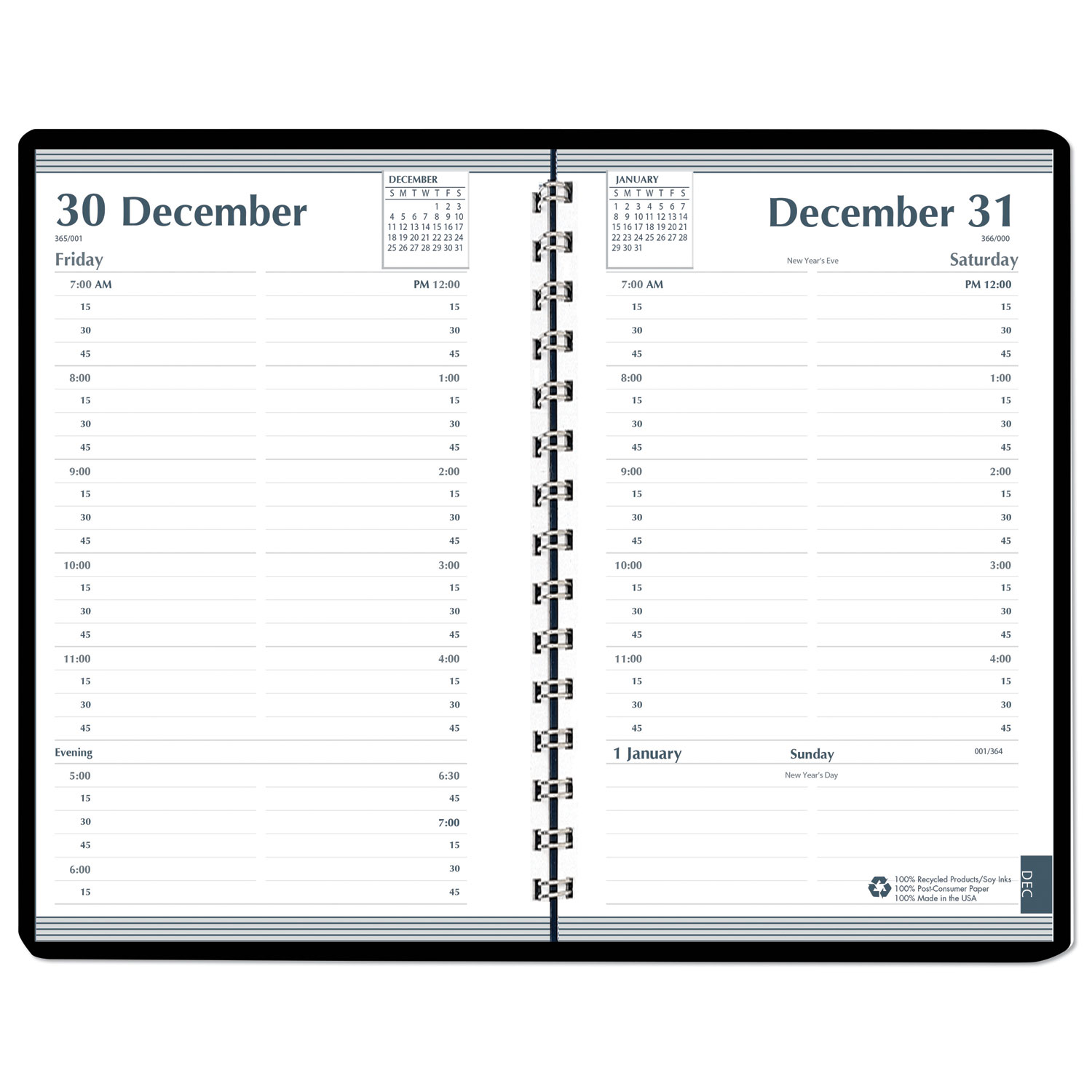 Daily Appointment Book, 15-Minute Appointments, 8 x 5