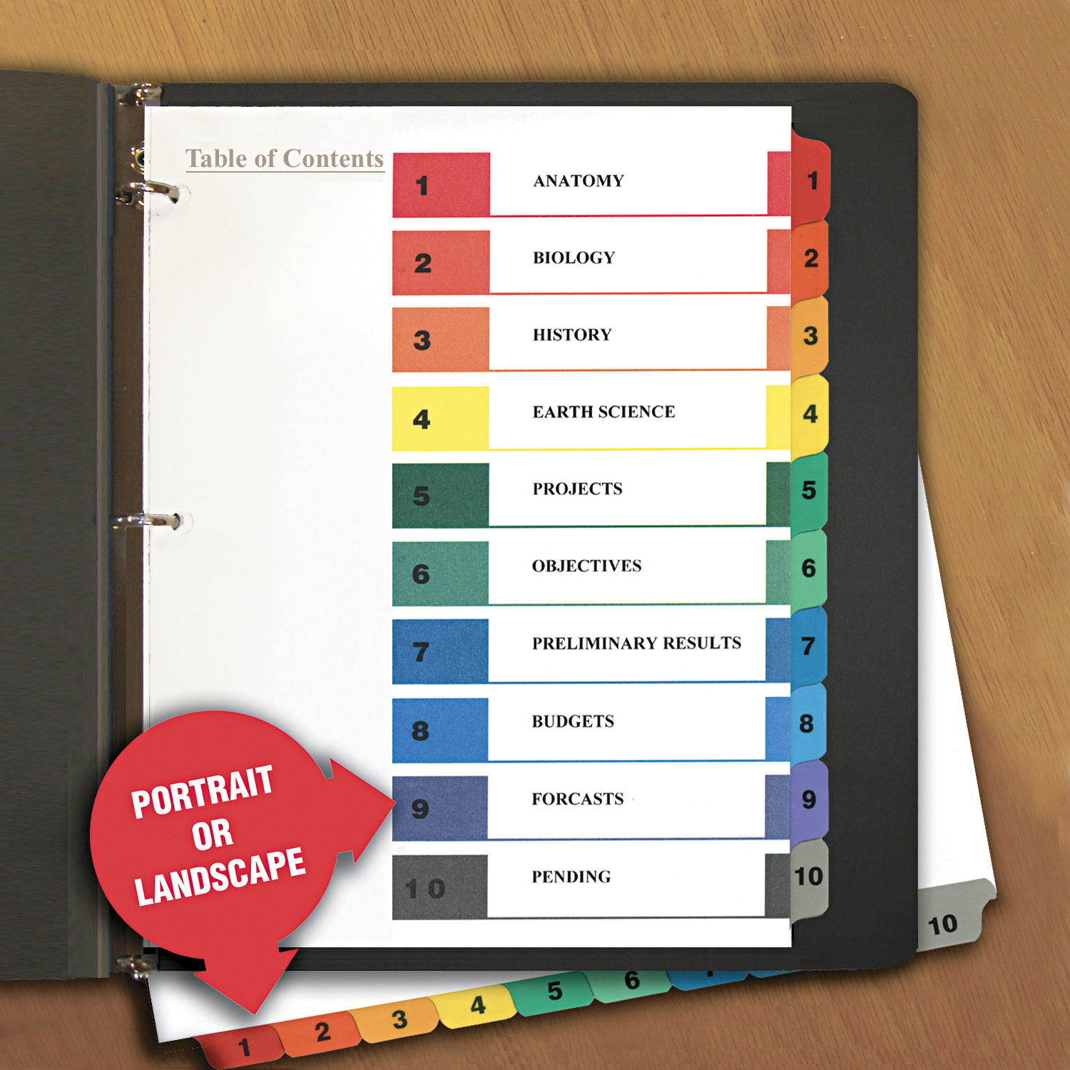 Unv Universal Table Of Contents Dividers