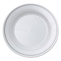 WNA Masterpiece Plastic Plates, 10 1/4in, Ivory w/Gold ...