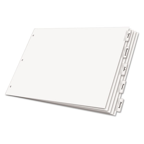 Paper Insertable Dividers, 5-Tab, 11 x 17, White Paper